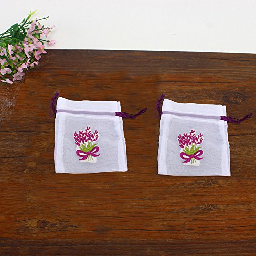 TooGet Sachet Embroidered Lavender Pattern Empty Bags Cotton Bags Drawstring Bags 3x3.5 Inch,12-Pack - Embroidered Sachet Bags