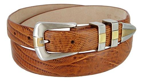 (Alexander Men's Genuine Italian Calfskin Leather Golf Dress Belt (34, Lizard Tan))