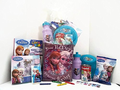 Disney Frozen Princess Elsa & Anna Gift Basket, Get Well Soon, Care Package, Kids Action Pack, Frozen Toy, Coloring Book, Olaf Tissues, Candy, Stickers, Cup & Bowl + Frozen Campbell's Soup 10pc Bundle (Princess Gift Baskets)