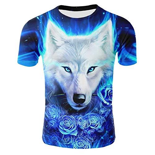 Genuxury Fashion Mens 3D Digital Printed Rose and Wolf Design Pattern T-Shirts Top Tees - Digital Pattern