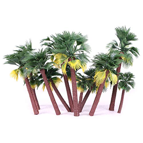 Ymeibe 16Pcs Green Palm Model Trees Plastic Artificial Layout Rainforest Diorama Tress, Building Model Trees Cup Cake Topper, Model Train Railways Architecture Landscape Trees from Ymeibe