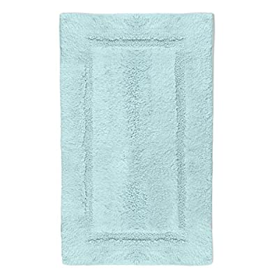 "QltyFrst Bath Mat Non-Skid Cotton 1900 GSM Size 21""x34"" Bathroom Rugs Luxurious Area Rug Extra Plush Absorbent Blue - PAMPER YOUR FEET - It is a known fact that Cotton breathes better than oil-based synthetic fabrics like polyester which makes it natural, comfortable, plush and super soft bathroom rug. These extra thick cotton bath mats will pamper your feet when stepped on them thanks to its 1900 gsm Non-Skid heavy-duty built. MAXIMUM ABSORBENCY - Bathroom rugs are made with highly absorbent cotton when compared to any other bathroom rug material available. Bathroom mats are made with 1900 gsm and 4x2x6 100% cotton yarn that provides plush and luxurious feel to your bare feet, measuring 21 by 34 inch and weigh 900 gms bath rugs are highly absorbent. Suitable as Kitchen rugs , door mats , living room mat , bedroom mat , vanity mats , wash station mats . NON-SKID - Area Rugs uses new spray latex technology which makes them Non-Skid on any surface. We promise you won't even see the latex on back of the mat. Bathroom rugs from QltyFrst comes in variety of great colors and designs to match any home decor. 100% combed cotton for superior construction, heavyweight and high durability these mats feel super luxurious. When you step onto these bathroom mats you will feel luxury is reinvented and makes you feel like walking on cloud. - bathroom-linens, bathroom, bath-mats - 51HB2EtXkEL. SS400  -"