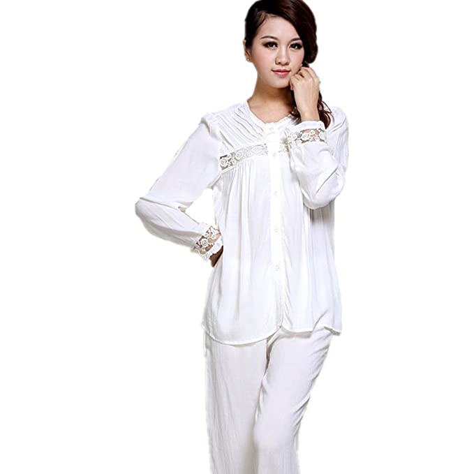 Amazon.com: DMMSS Ladies White Pajamas Set Spring And Autumn Long - Sleeved Lace Bathrobes 2 - Piece Sets Of Elegant Home Service Suits: Sports & Outdoors