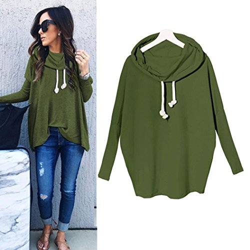 IEason Women Blouse Women Sweatshirt Bow Neck Long Sleeve Pullovers Tops Blouse (L, Green) (Raglan Cashmere)
