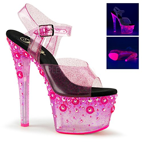 Glitter Tpu Pleaser Sandal Pink Pink Ankle Sky Tinted Neon 308UVMG Strap Women's Sw4gwqtz