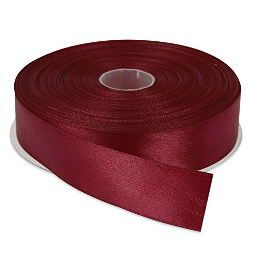 Topenca Supplies 1 Inches x 50 Yards Double Face Solid Satin Ribbon Roll, Burgundy