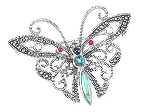 (Sterling Silver Marcasite Simulated Turquoise Red Stone Butterfly Brooch Pin)