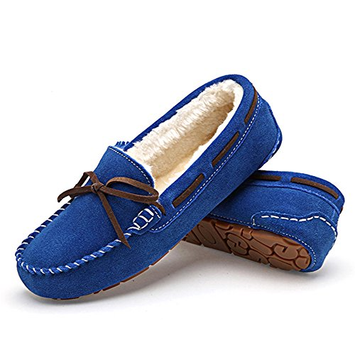 feetmat Frauen Loafers Lighweight Bow Flachboot Slip-Ons Driving Shoes Blau