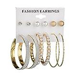 6 Pairs Diamond Stud Earrings Scrub Crystal Pearl Big Circle Clip On Earring Hoop Simple Huggie Earrings Ear Cuffs Jewelry Set (Gold)