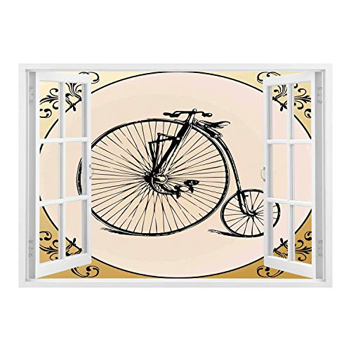 SCOCICI Window Frame Style Home Decor Art Removable Wall Sticker/Bicycle,Retro Big and Small Tired Bicycle on A Vintage Round Framed Floral Background Boho,Tan Cream/Wall Sticker Mural