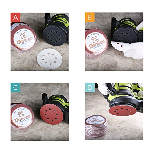 Denveo Dry Sanding Disc 60/80/120/180/240/320 Grit 5 Inch and Sandpaper Assortment, Hook and Loop System Red Paint and Steel Sanding for Random Orbital Sander, Pack of 60 (8 Holes) by Denveo (Image #5)