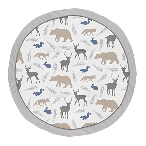 Sweet Jojo Designs Blue and Grey Playmat Tummy Time Baby and Infant Play Mat for Woodland Animal Collection