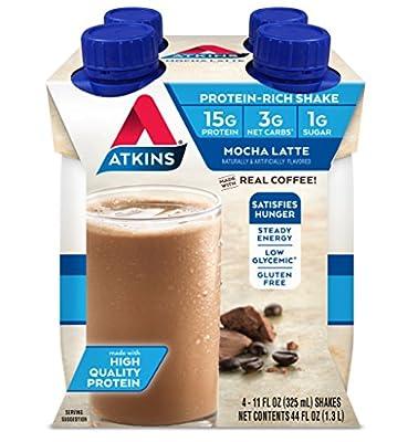 Atkins Gluten Free Protein-Rich Shake, Mocha Latte, 4 Count