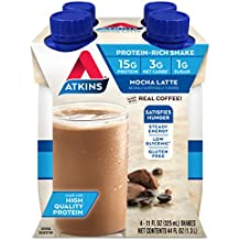 Atkins Ready to Drink, Mocha Latte, 15g Protein, 3g Net Carbs, 1g Sugar, 11-Ounce, 4-Count
