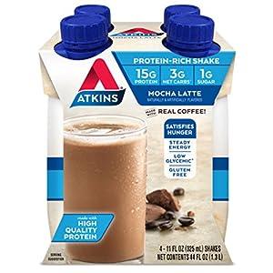 Atkins Gluten Free Protein-Rich Shake, Mocha Latte, Keto Friendly, 4 Count