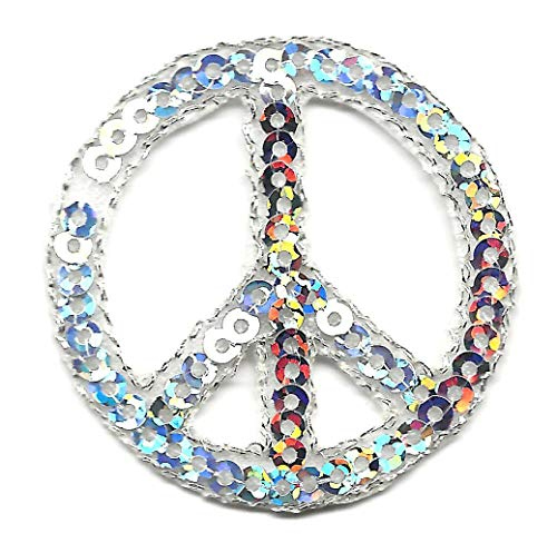 PINZ- Peace Sign Silver Sequins Patriotic Peace 70's Iron On - Sign Sequin Peace