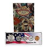 1947 Year Coin Set & Greeting Card : 70th Birthday Gift - Birthyear Set