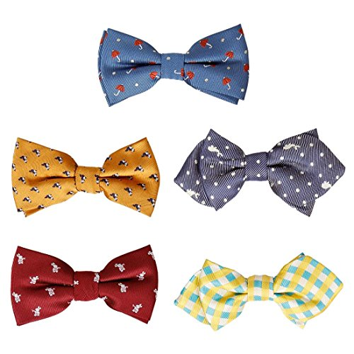 Bundle Monster 5 pc Boys Mixed Pattern Adjustable Elastic Pre-Tied Bow Tie Fashion Accessories - Set 8