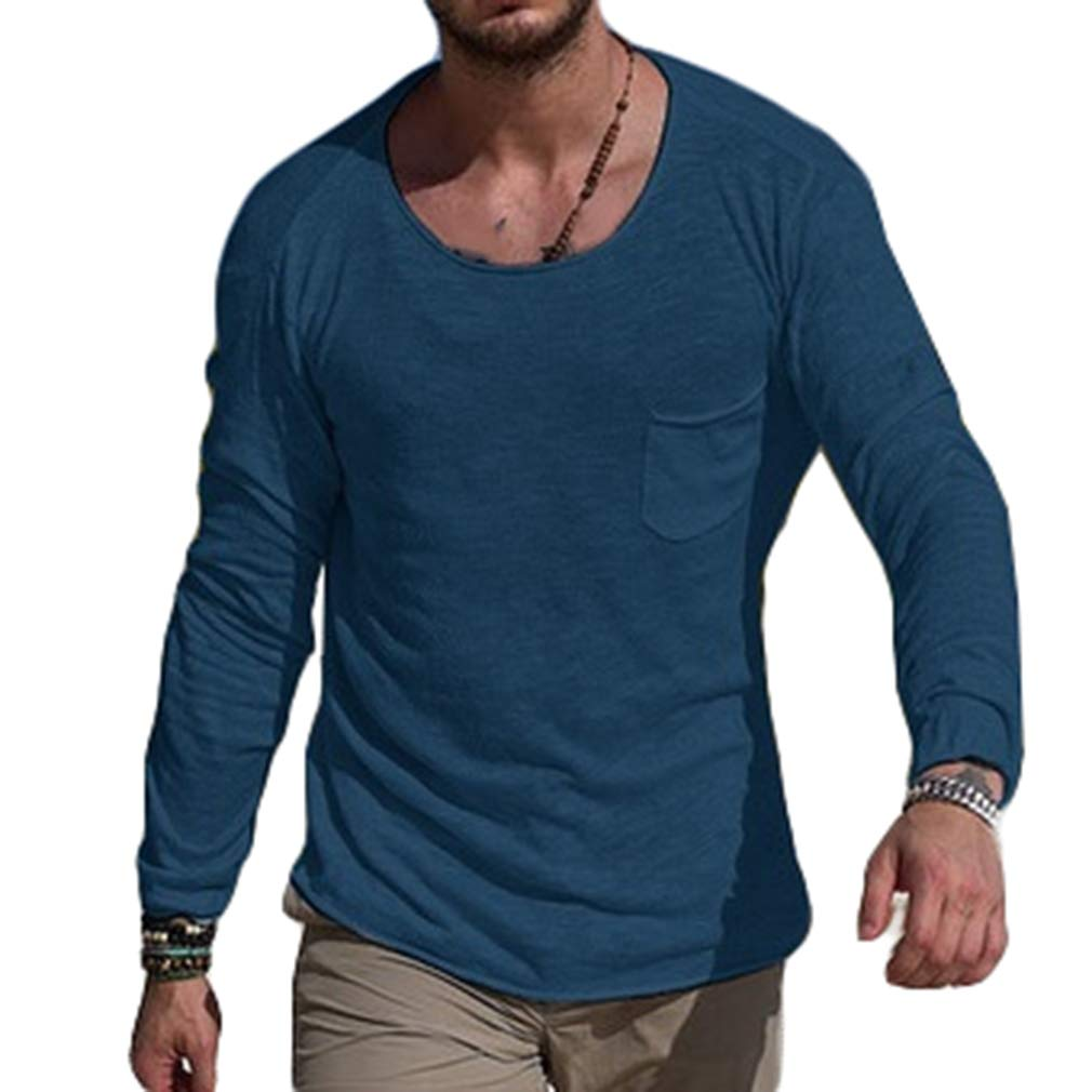 Mxssi Long Sleeve Shirt for Men Fashion Pure Color Blouse with Round Neck Casual Slim Tops T-Shirts Shirts for Autumn and Spring White/Black/Grey/Blue S-3XL