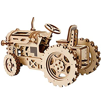 RoWood 3D Wooden Puzzle Brain Teaser Craft Toy, Gift for Her & Him, Spring Drive Mechanical Gear DIY Model Building Kits - Tractor: Toys & Games