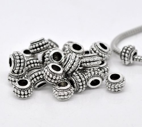 PEPPERLONELY Brand 50PC Antique Silver Dot Spacer Beads Fit European Bracelet 3/8 x 9/32 Inch ( 9MM x 7MM )