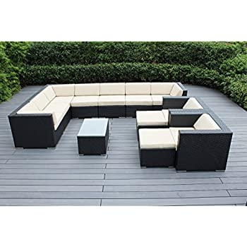 This Item Ohana 12 Piece Outdoor Wicker Patio Furniture Sectional  Conversation Set With Weather Resistant Cushions, Beige (PN1201)