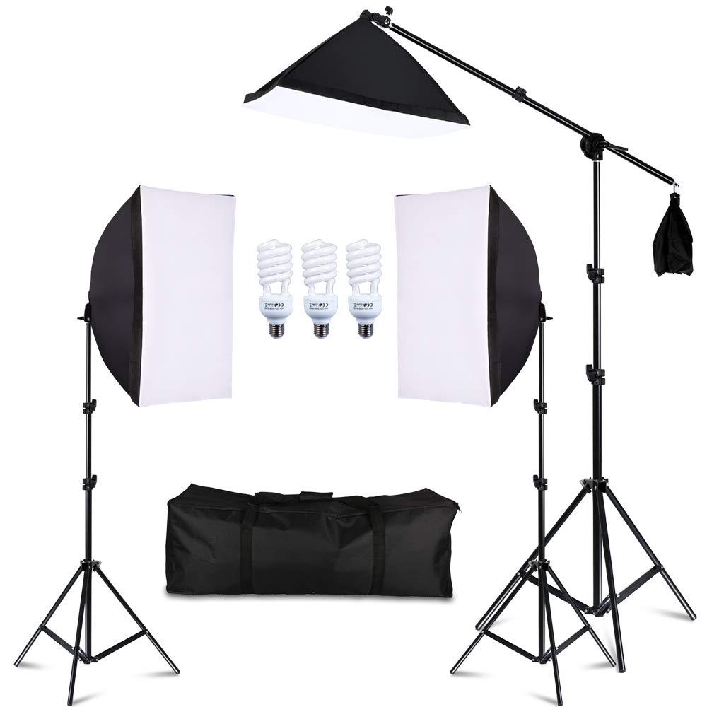 Photography フォトスタジオ照明キットセット ソフトボックス 5500K 45W デイライトスタジオ電球 ライトスタンド スクエアキューブ ソフトボックス カンチレバーバッグ ソフトボックス ソフトボックス ソフトボックス ソフトボックス SET 2  B07DVM52GV
