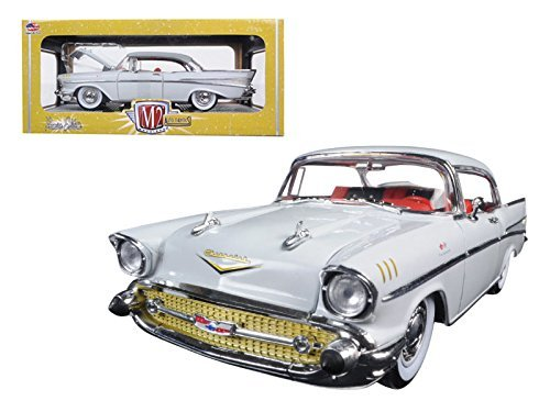 M2 40300-49A 1957 Chevrolet Bel Air Hardtop Imperial Ivory 1/24 Diecast Model Car Machines -