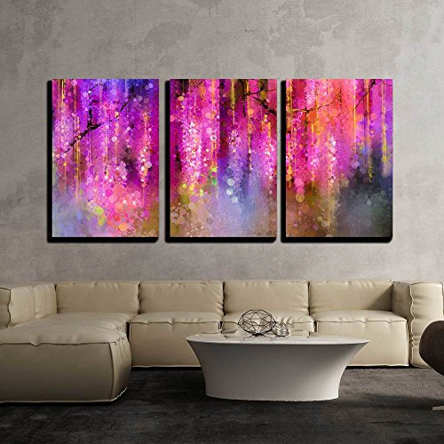 Painting Violet (wall26 - 3 Piece Canvas Wall Art - Abstract Violet, Red and Yellow Color Flowers. Watercolor Painting - Modern Home Decor Stretched and Framed Ready to Hang - 16