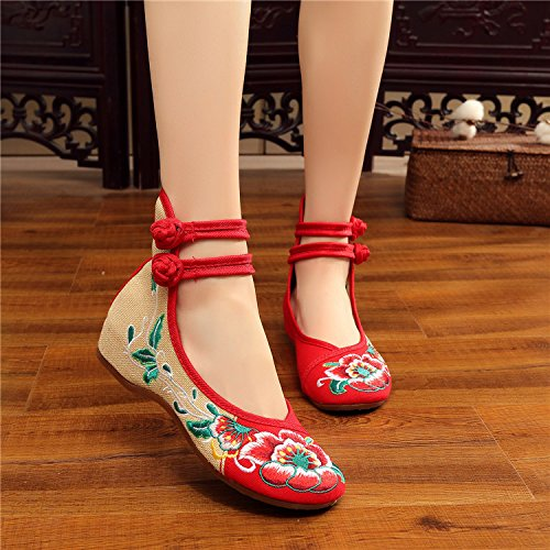 Red Cotton Women's Flat Embroidered Univegrow Hibiscus Shoes twYFRWSq