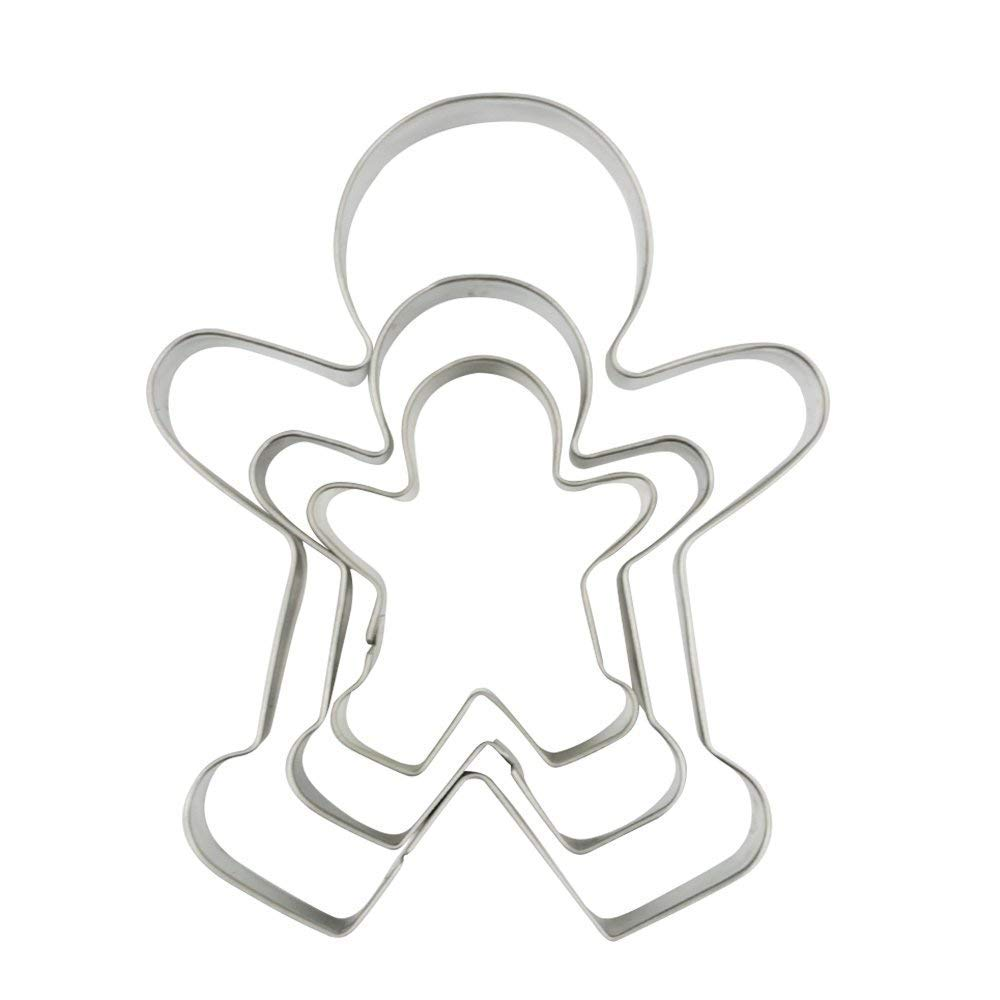 3 Piece Gingerbread Man Cookie Cutter Set, Christmas Shape Cookie Cutters Molds - 2.2 Inch, 3 Inch, 4.5 Inch
