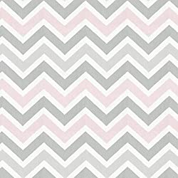 Carousel Designs Pink and Gray Chevron Fabric by the Yard