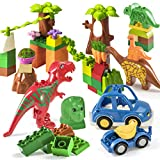 Prextex 48 Piece Dinosaur Paradise Building Blocks Set STEM Learning Mighty Dinosaur Blocks Brick Building Set Compatible with All Major Brands Dinosaur Toys