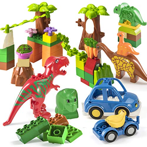 Duplo Dinosaurs - Prextex 48 Piece Dinosaur Paradise Building Blocks Set STEM Learning Mighty Dinosaur Blocks Brick Building Set Compatible with All Major Brands Dinosaur Toys