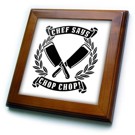 3dRose Carsten Reisinger - Illustrations - Chef Said Chop Chop Funny Kitchen Chef Design - 8x8 Framed Tile (ft_282658_1)