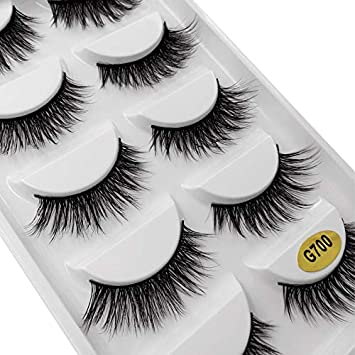 3345b53438a Amazon.com : 5 Pairs Mink Eyelashes 3D False Lashes Thick Crisscross Makeup Eyelash  Natural Volume Soft Fake Eye Lashes G700 : Beauty