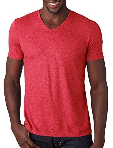 Anvil Adult Tri-Blend V-Neck T-Shirt, Hthr Red, Medium (Short Adult Anvil)