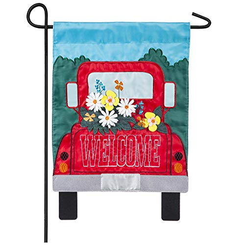 Evergreen Flag Rustic Red Truck Filled with Beautiful Blooms and Welcome Message Applique Garden Flag 12.5 x 18 Inches