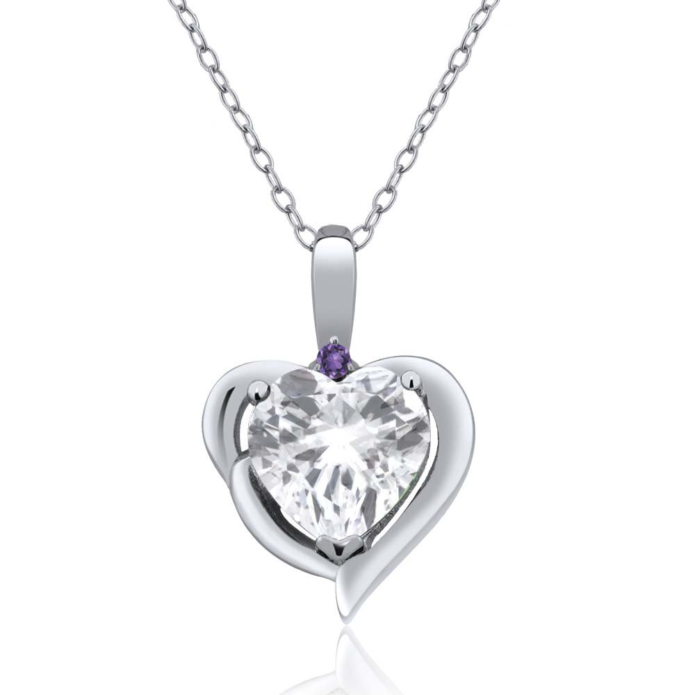 Gem Stone King 2.02 Ct Heart Shape White Topaz Purple Amethyst 925 Sterling Silver Pendant