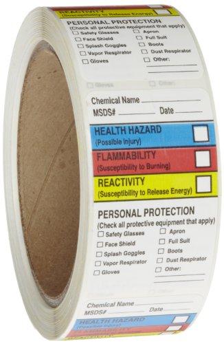 Rollo productos 163–0015–Litho extraíble etiqueta adhesiva hmig con huella de 4colores, MSDS nombre (Química...