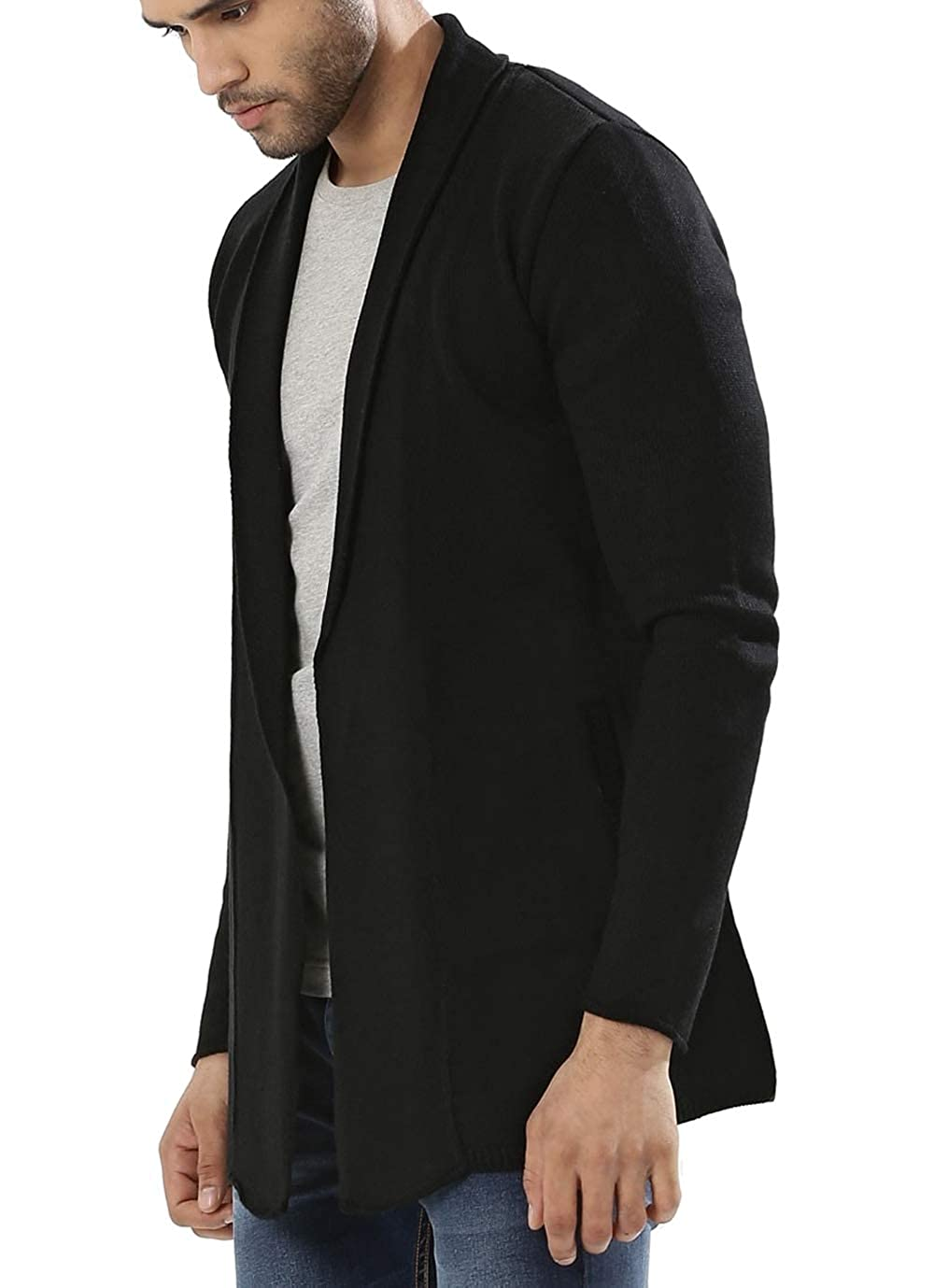 Simbama Men's Shawl Collar Cardigan Sweat Long Sleeve Open Front Lightweight Overcoat Long Length Drape Cape 7253381
