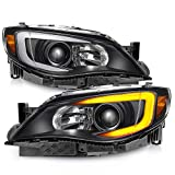 [C-Style] [Black] For 2008-2014 Subaru Impreza WRX LED DRL Switchback Turn Signal Projector Headlights