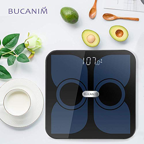 Body Fat Scale Analyzer, Fat Scale Digital Bathroom Weighing - Wireless Smart Body Scale Composition Monitor Compatible Weight, Fat, Water, BMI, BMR, Muscle Mass with App Tracker (Black)