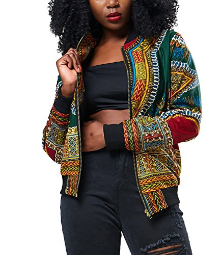 Remelon Womens Casual Hipster Graphic Print Long Sleeve Lightweight Short Bomber Jacket Green - Graphic Jacket Print