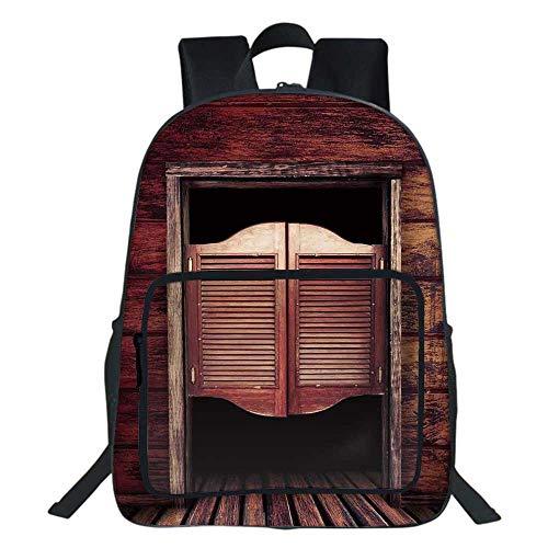 Western School Bookbag,Old Rustic Wooden Door and Wild West Cowboy Antique Bar Saloon Door Picture For Teens Girls Boys,11.8