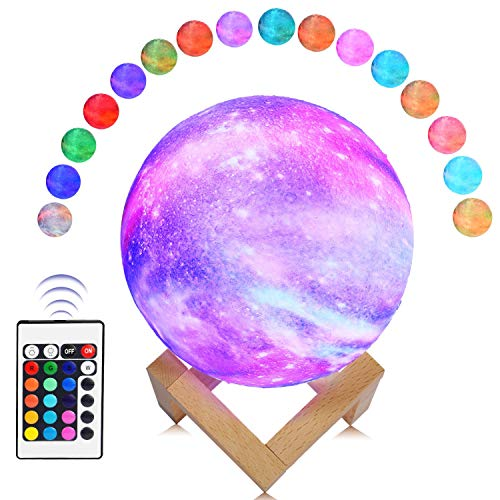 - ABEICO Moon Lamp-3D Starry Moon Night Light Lamp with Stand/Remote/Touch/USB Rechargeable, 16 LED Colors 5.9inch Moon Light Lamps Night Lights for Kids Baby Birthday Christmas-Cool Nursery Lamps Ideas