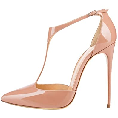 351b76cb95a Chris-T Women s T-Strap Pointed Toe Solid Ankle Strap Buckle High Heels  Patent