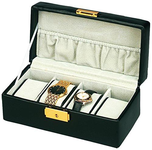 Budd Leather 4-Watch Box, Black