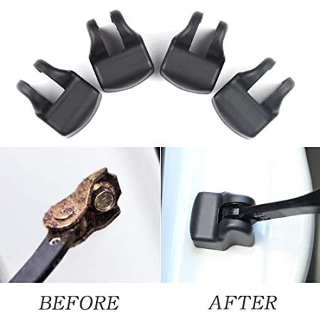 1797 Compatible Door Check Lock Cover Toyota Accessories Parts Corolla Camry Highlander Yaris Interior Arm Body Latch Buckle Caps Decals Stickers Decorations Anti Corrosion PPE Plastic Black Pack of 4