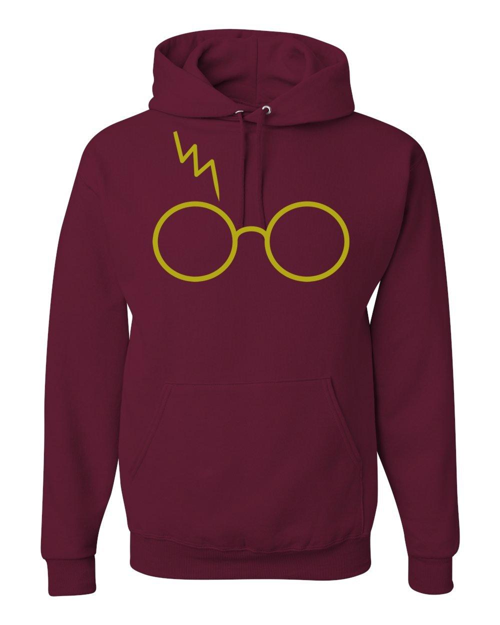 Gold Harry Potter Glasses Scar Unisex Hooded Sweatshirt Fashion Hoodie ( Maroon , Large )